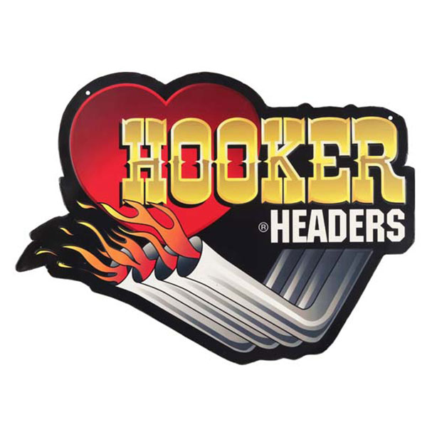 Hooker Headers Die Cut Embossed Tin Sign 18
