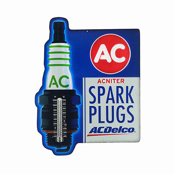 AC Delco Embossed Spark Plugs Thermometer Tin Sign 15