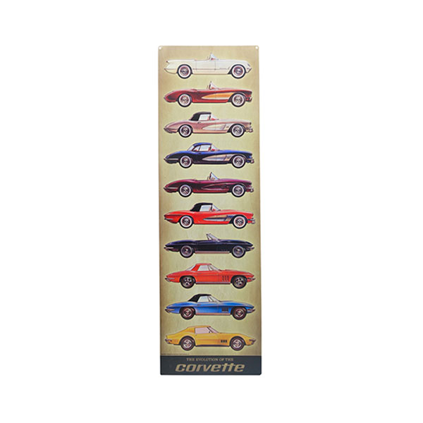 Corvette Models Vertical Embossed Tin Sign 9.18