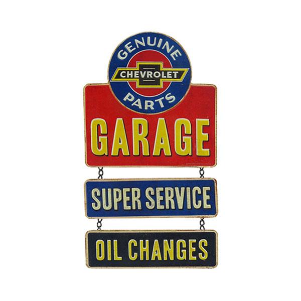 Chevrolet Genuine Parts Garage Embossed Metal Linked Sign 9