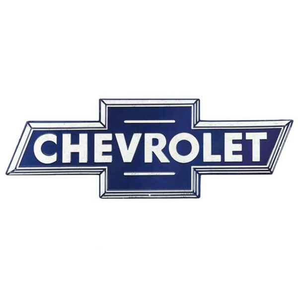 Chevrolet Blue White Bowtie Embossed Tin Sign 28
