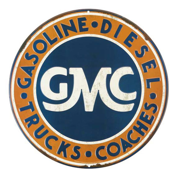 GMC Embossed Round Orange Blue White Tin Sign 12