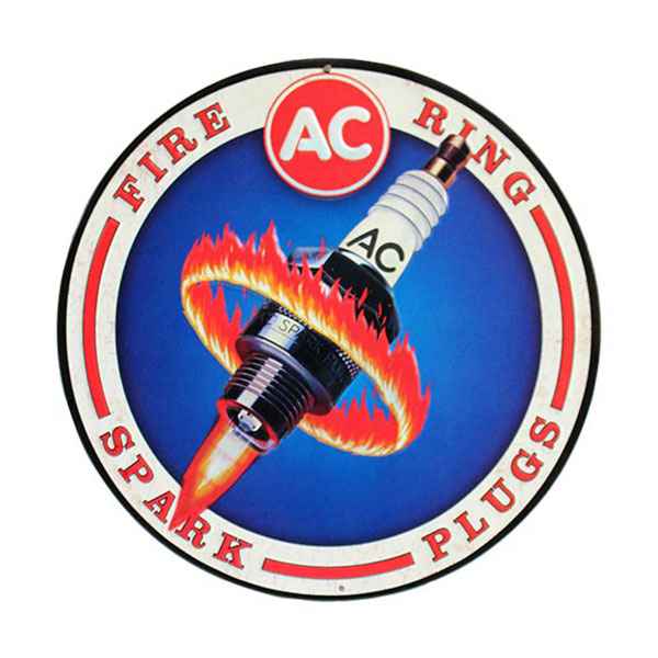 AC Delco Fire Rings Spark Plugs Round Tin Sign 12