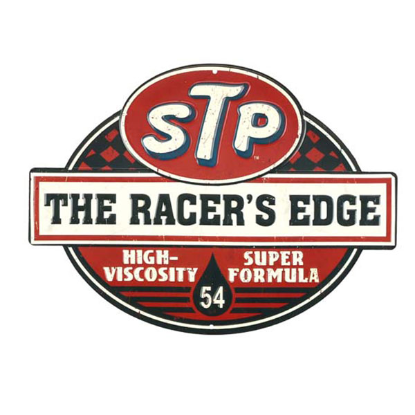 STP RACER'S EDGE EMBOSSED TIN SIGN 14