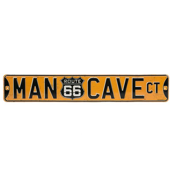 MAN CAVE CT. ROUTE 66 EMBOSSED TIN STREET SIGN 20 X 3.38 | 90146347-S