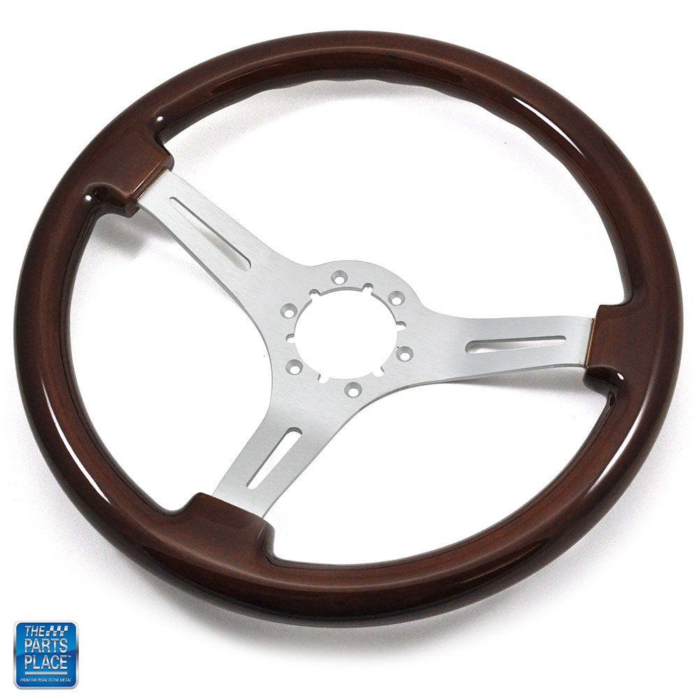 "1968-1982 Corvette Steering Wheel Wood With Brushed Silver Spokes 14/"""