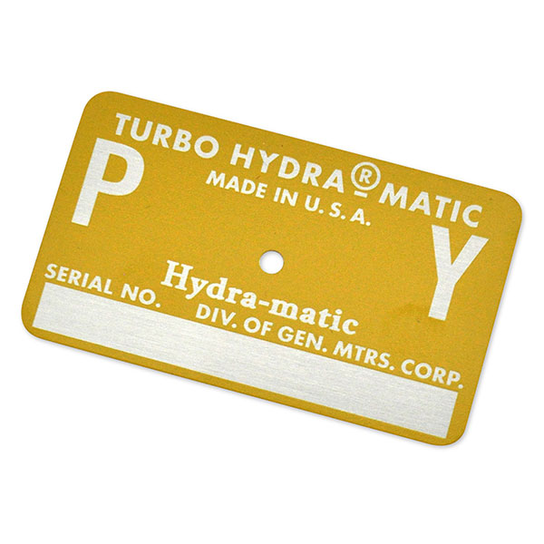 1968 Pontiac GTO/LeMans/Tempest AUTOMATIC TRANSMISSION TAG - PY YELLOW | AT15390Z