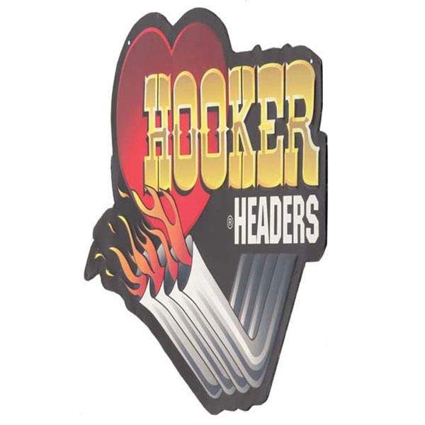 Hooker Headers Die Cut Embossed Tin Sign 18