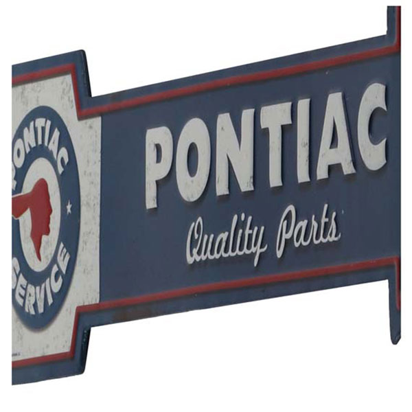 Pontiac Quality Parts Arrow Embossed Tin Sign 20