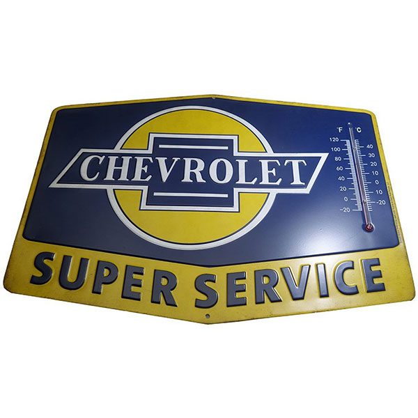 Chevrolet Super Service Thermometer Tin Sign 14