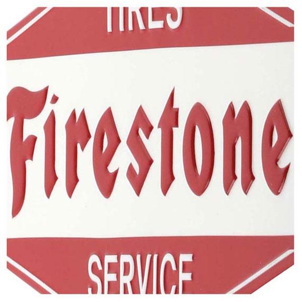 Firestone Service Embossed Tin Sign 13