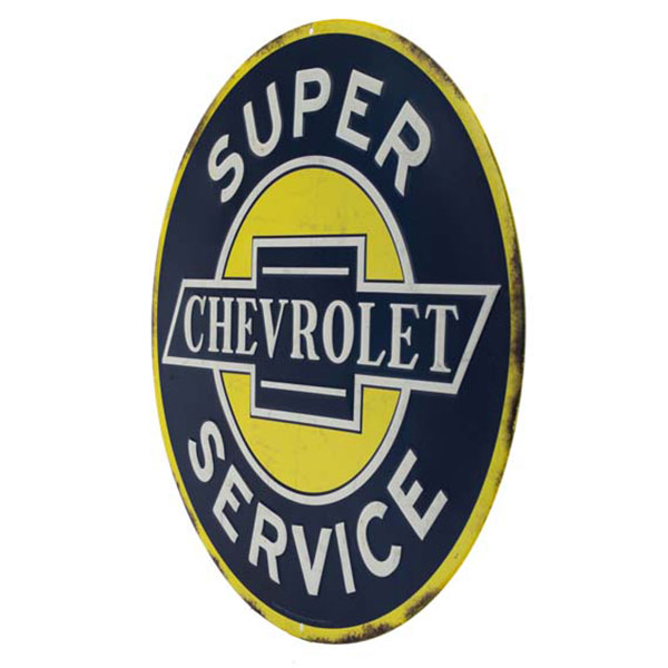 Chevrolet Round Yellow Blue White Embossed Tin Sign 12