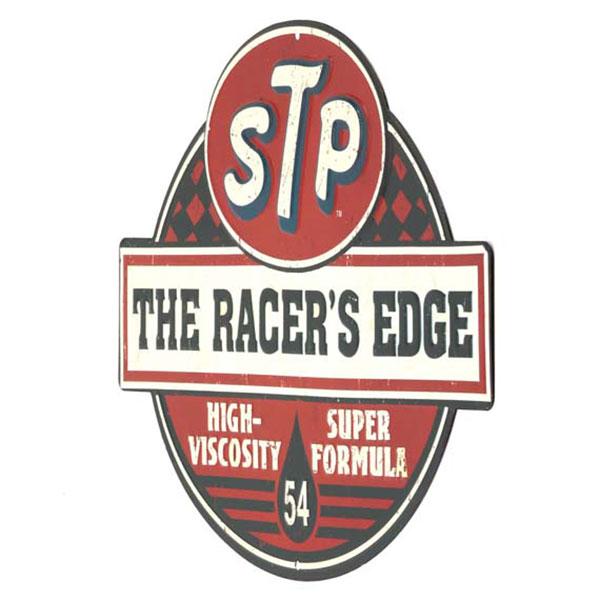 STP RACER'S EDGE EMBOSSED TIN SIGN 14