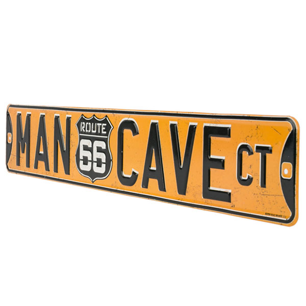 "MAN CAVE CT. ROUTE 66 EMBOSSED TIN STREET SIGN 20"" X 3.38"" 