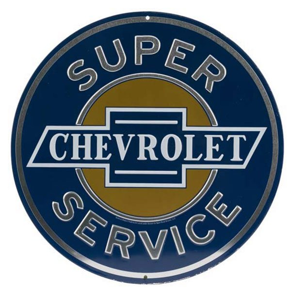 Chevrolet Super Service Embossed Tin Sign | 50074-S