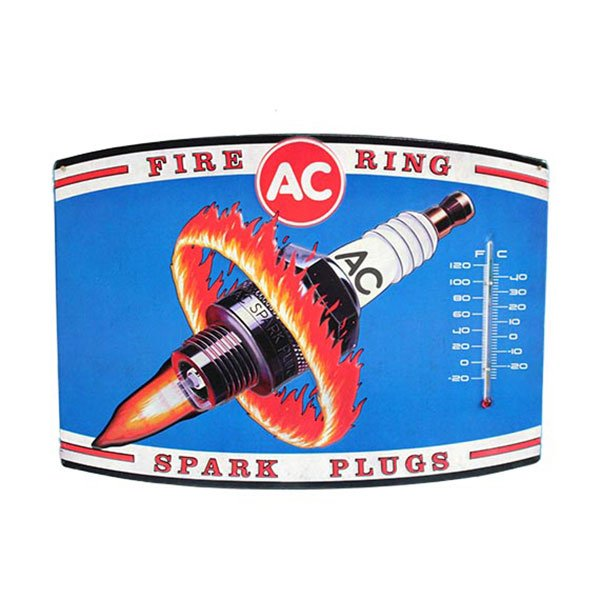 AC Delco Fire Rings Spark Plugs Thermometer Tin Sign 14