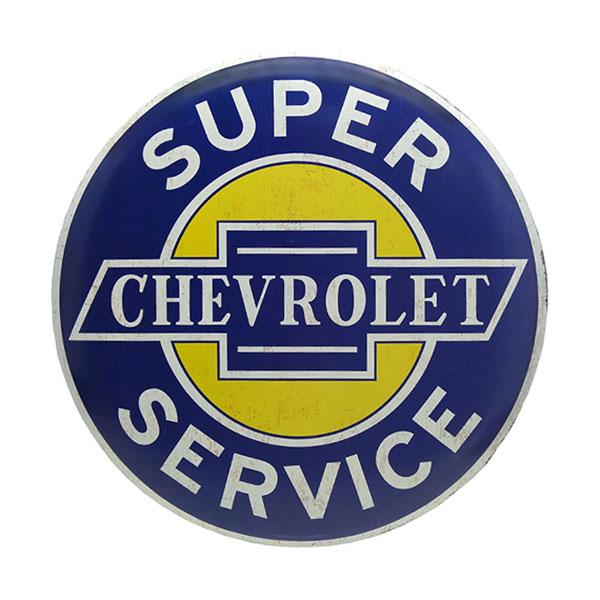Chevrolet Round Yellow Blue White Tin Sign 24