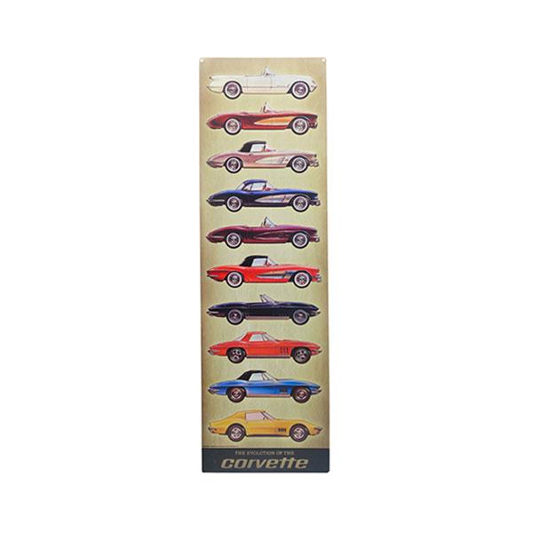 Corvette Models Vertical Embossed Tin Sign 9.18
