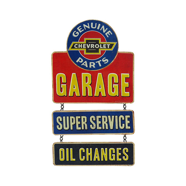 Chevrolet Genuine Parts Garage Embossed Metal Linked Sign 9